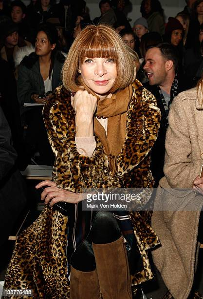 Vogue's Anna Wintour attends the Alexander Wang fall 2012 fashion show at Pier 94 on February 11 2012 in New York City
