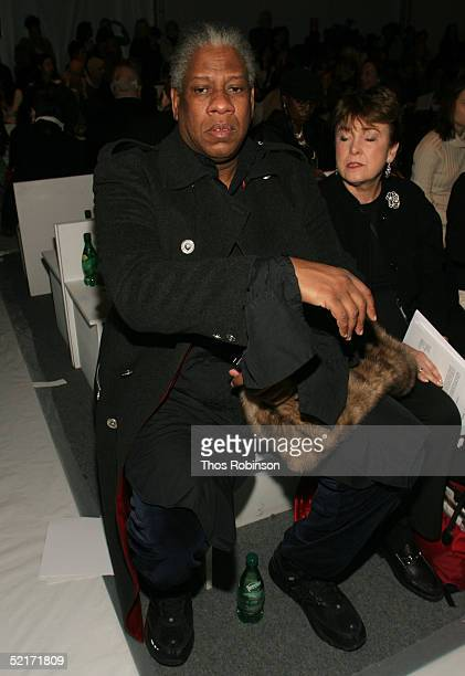 Vogue's Editor at Large Andre Leon Talley attends the Jeffrey Chow Fall 2005 fashion show during the Olympus Fashion Week at Bryant Park February 10...