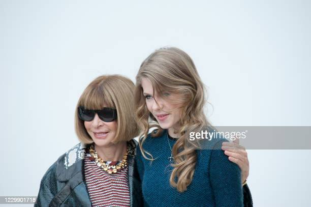 Vogue's empress Anna Wintour and her daughter Bee Shaffer arrive for the Burberry's 2012 Spring Summer show on September 19, 2011 during the London...
