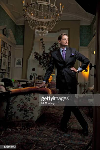 Vogue's international editor at large Hamish Bowles is photographed for Out Magazine on October 9 2012 at home in New York City