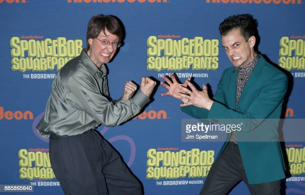 Voice actor Doug Lawrence and actor Wesley Taylor attend the 'Spongebob Squarepants' Broadway opening night after party at The Ziegfeld Ballroom on...