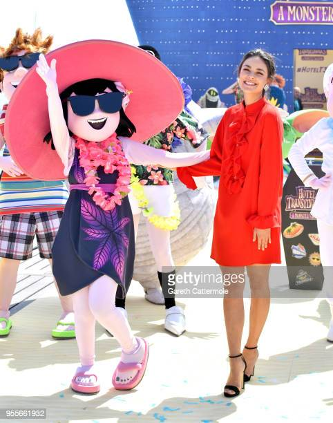 Voice actor Janina Uhse cruises into the 71st Cannes Film Festival for a colourful photocall with monster characters from the movie to launch a sneak...