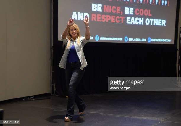 Voice actor Tara Strong speaks onstage at the Let's Be Heroes panel during New York Comic Con 2017 JK at Jacob K Javits Convention Center on October...