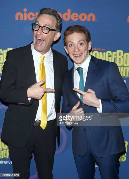 Voice actor Tom Kenny and actor Ethan Slater attend the 'Spongebob Squarepants' Broadway opening night after party at The Ziegfeld Ballroom on...