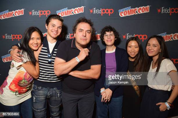Voice actors Deedee Magno Hall Zach Callison Tom Scharpling Rebecca Sugar Michaela Dietz and Grace Rolek attend the Steven Universe Panel during New...