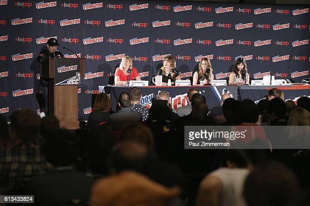 Voice actors Eric Bauza Haley Mancini Natalie Palamides Amanda Leighton and Kristen Li speak during the Cartoon Network 'The Powerpuff Girls' panel...