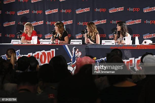 Voice actors Haley Mancini Natalie Palamides Amanda Leighton and Kristen Li speak during the Cartoon Network 'The Powerpuff Girls' panel at New York...