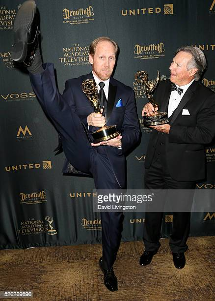 Voice actors Jeff Bennett and Frank Welker pose in the press room at the 43rd Annual Daytime Creative Arts Emmy Awards at Westin Bonaventure Hotel on...