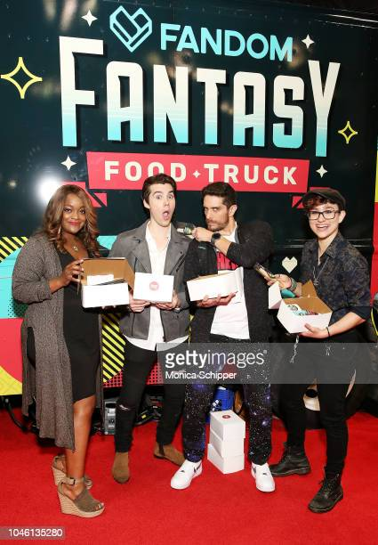 Voice actors Kimberly Brooks Jeremy Shada Josh Keaton and Bex TaylorKlaus of Voltron attend FANDOM At New York ComicCon on October 5 2018 in New York...