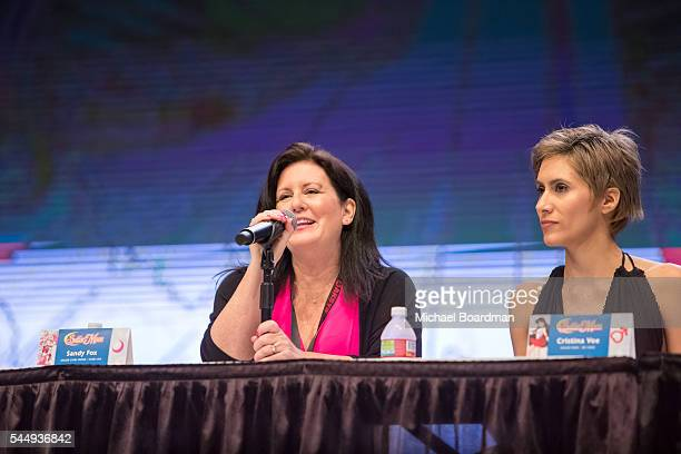 Voice Actors Sandy Fox and Cristina Vee appear on Sailor Moon Panel at the Anime Expo 2016 at Los Angeles Convention Center on July 03 2016 in Los...