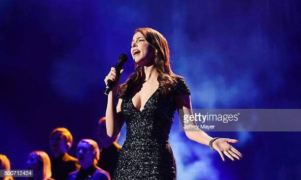Voice actress Laura Bailey sings onstage during The Game Awards 2015 at Microsoft Theater on December 3 2015 in Los Angeles California Laura Bailey