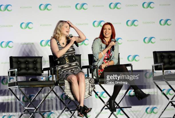 """Voice actresses Bryn Apprill and Elizabeth Maxwell speak at the """"Behind the Voices"""" panel during the ClexaCon 2018 convention at the Tropicana Las..."""