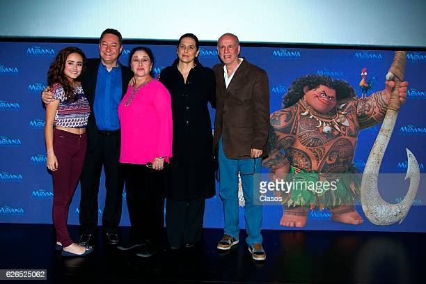 Voice cast of Moana pose during a press conference of the new Disney's movie 'Moana on November 28 2016 in Mexico City Mexico
