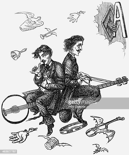 'A Voice from the SpiritWoolsack' 1865 Two men riding on a flying banjo Flying with them is a violin a tambourine accordion a bell and trumpet A hand...