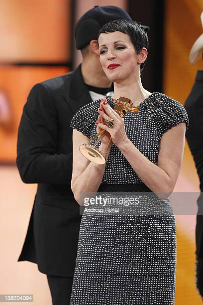 Voice Of Germany jury member Nena receives the award for best entertainment show during the 47th Golden Camera Awards at the Axel Springer Haus on...