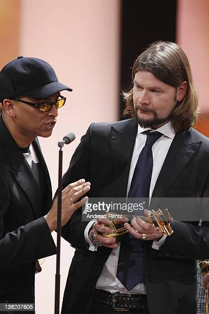 Voice Of Germany jury members Xavier Naidooand Rea Garvey receive the award for best entertainment show during attend the 47th Golden Camera Awards...