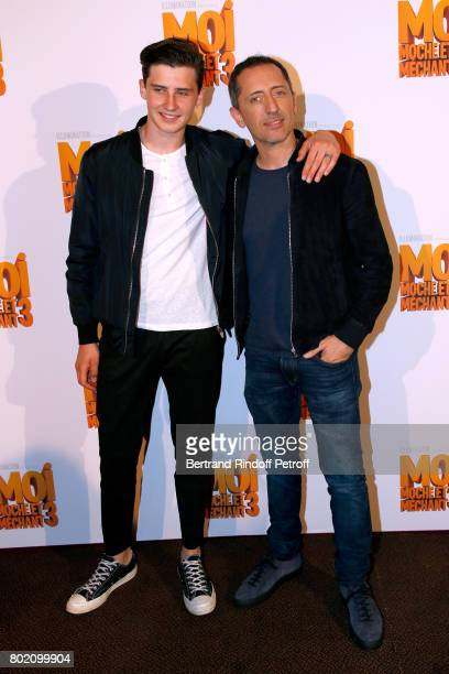 Voice of the movie Gad Elmaleh and his son Noe Elmaleh attend the Despicable Me Paris Premiere at Cinema Gaumont Marignan on June 27 2017 in Paris...