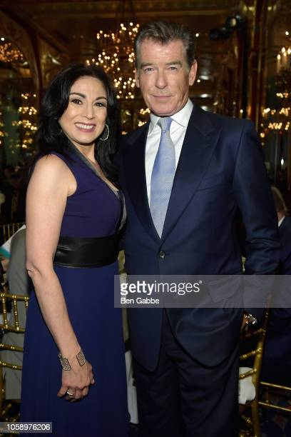 Voice over artist Valerie Smaldone and actor Pierce Brosnan attend the 2018 Innovation Gala where Chemotherapy Foundation honors Actor Producer and...