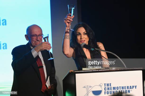 Voice over artist Valerie Smaldone and Chemotherapy Foundation Chair Director Dr Franco Muggia speak onstage as Chemotherapy Foundation honors Actor...