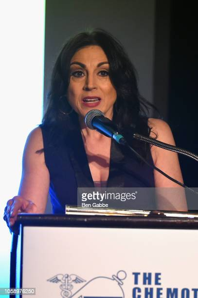 Voice over artist Valerie Smaldone speaks onstage as Chemotherapy Foundation honors Actor Producer and Philanthropist Pierce Brosnan with...