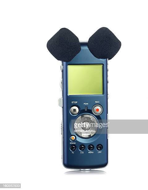 Voice Recorder with two microphones on white
