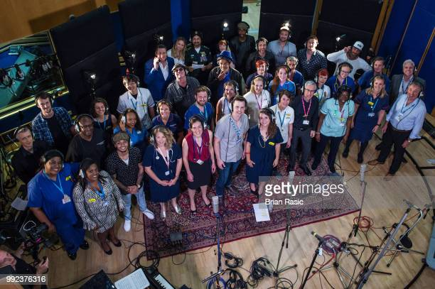 Voices choir with Tony Hadley Antony Costa Duncan James Lee Ryan and Simon Webbe of Blue Ali Campbell and Astro of UB40 Aston Merrigold and Gary...