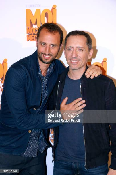 Voices of the movie Arie Elmaleh and his brother Gad Elmaleh attend the Despicable Me Paris Premiere at Cinema Gaumont Marignan on June 27 2017 in...