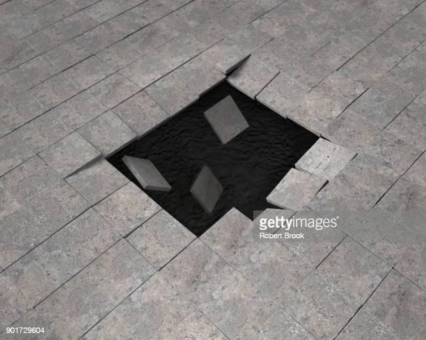 Void opening up beneath paving stones