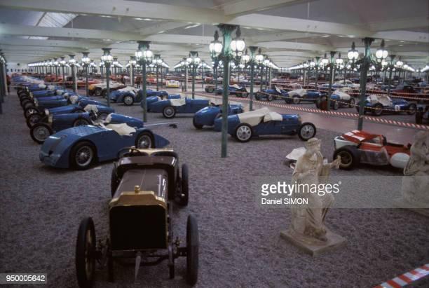 Voitures anciennes de marque Bugatti, collection Schlumpf à la Cité de l'automobile, le 9 mars 1977 à Mulhouse, France.