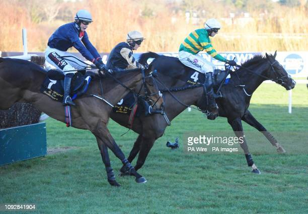 Voix Du Reve ridden by Paul Townend falls at the last fence in the Frank Ward Solicitors Arkle Novice Chase leaving Le Richebourg ridden by Mark...