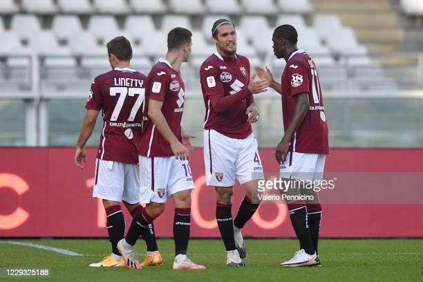 Vojnovic Lyanco of Torino FC celebrates a goal with team mates during the Coppa Italia match between Torino FC and US Lecce at Stadio Olimpico Grande...