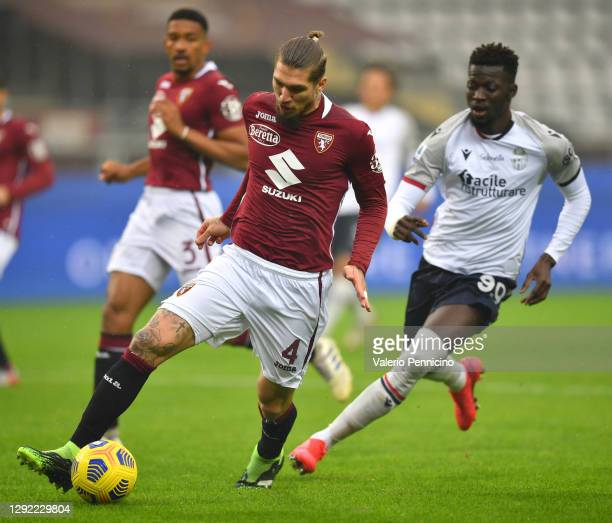 Vojnovic Lyanco of Torino FC runs with the ball during the Serie A match between Torino FC and Bologna FC at Stadio Olimpico di Torino on December...