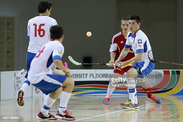 Vojtech Bagin of Czech Republic in action during the World University Championship Floorball match between Switzerland and Czech Republic at the...