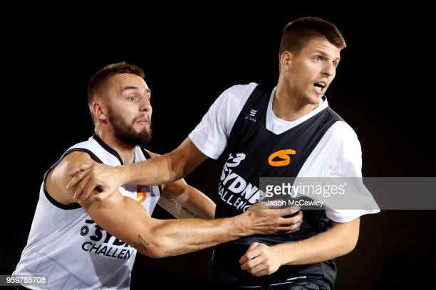 Vojtech Rudicky of Marienbad and Dragan Bjelica of Belgrade compete for the ball during Sydney FIBA 3x3 World Challenger event hosted by the NBL held...
