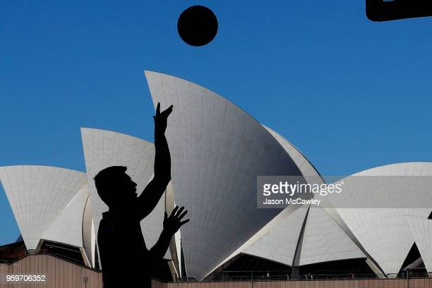 Vojtech Rudicky of Marienbad warms up during Sydney FIBA 3x3 World Challenger event hosted by the NBL held at the Overseas Passenger Terminal...