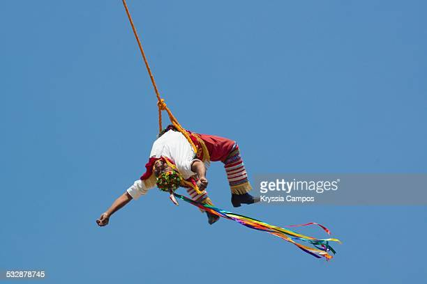 Volador de Papantla flying men during a performance they are Totonac natives from Mexico the ceremony was named an intangible cultural heritage by...