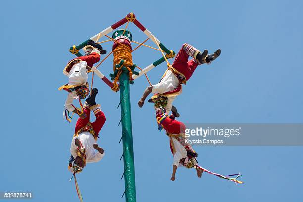 Voladores de Papantla flying men during their performance they are Totonac natives from Mexico the ceremony was named an intangible cultural heritage...