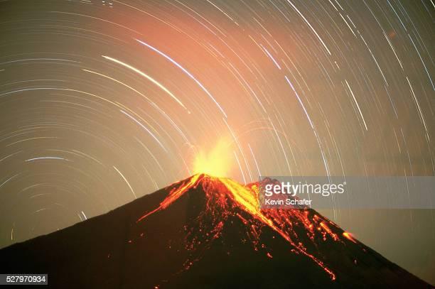 Volcan Arenal Erupting at Night
