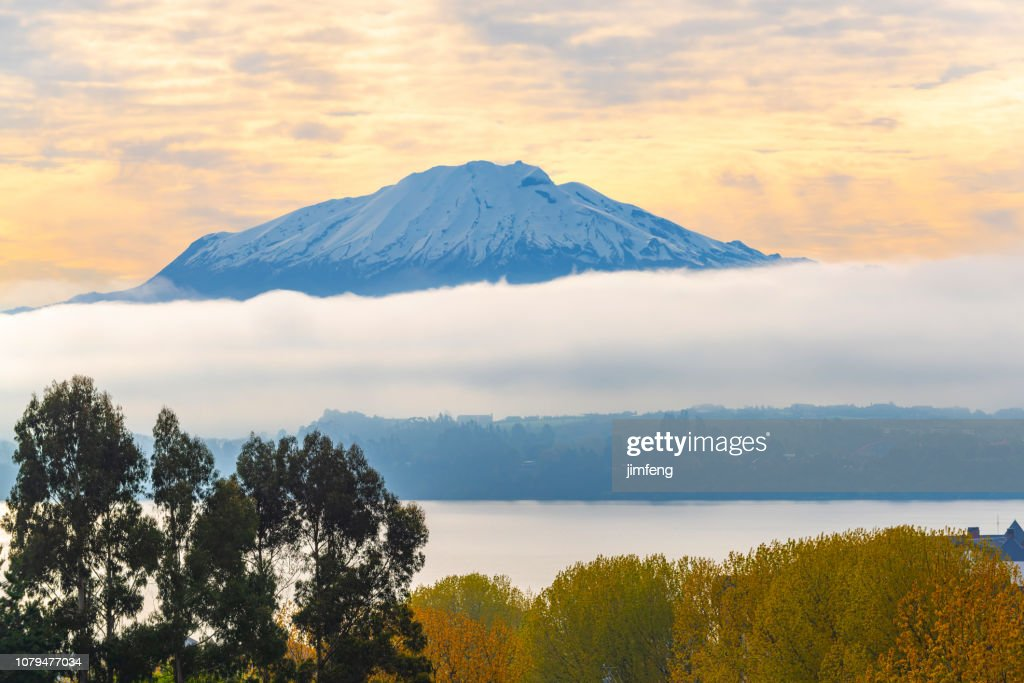 Volcan Osorno seeing from Frutillar : Stock Photo