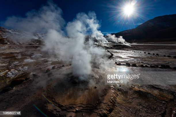 volcanic area - geyser - el tatio - geothermal energy - hot spring stock pictures, royalty-free photos & images
