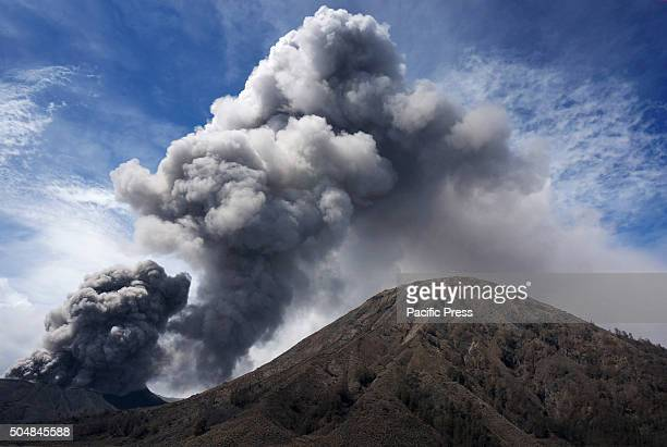 Volcanic ash erupted from the crater of Mount Bromo. Mount Bromo is constantly increasing volcanic eruption with earthquakes accompanied - the Center...