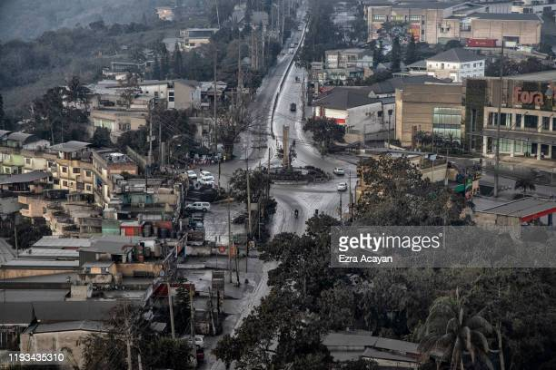 Volcanic ash from Taal Volcano's eruption covers roads and rooftops on January 13 2020 in Tagaytay city Cavite province Philippines The Philippine...