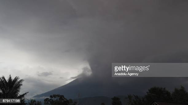 Volcanic ashes are seen in Sibetan village of Karangasem regency 7 kilometers from the erupted Mount Agung in Bali Indonesia on November 26 2017...