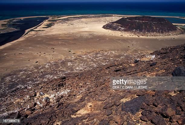 Volcanic crater, island of Saba, Al-Zubair archipelago, Yemen.