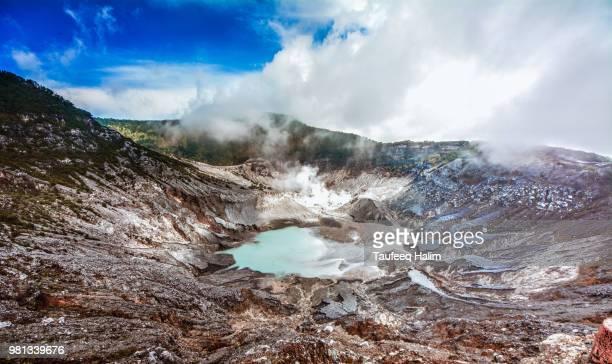 volcanic crater of tangkuban perahu, bandung, west java, indonesia - bandung stock pictures, royalty-free photos & images