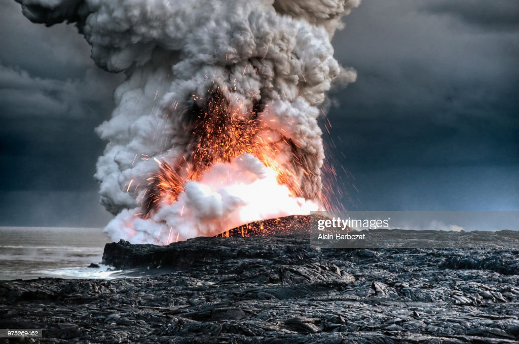 A volcanic eruption in Hawaii. : Stock Photo