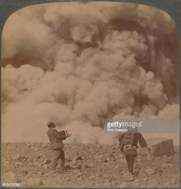 Volcanic explosion smoke steam and stones from crater of Asamayama Japan' 1904 From The Underwood Travel Library Japan [Underwood Underwood London...