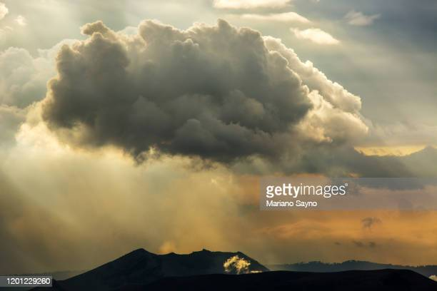 volcanic fumes billow from taal volcano - taal volcano eruption stock pictures, royalty-free photos & images