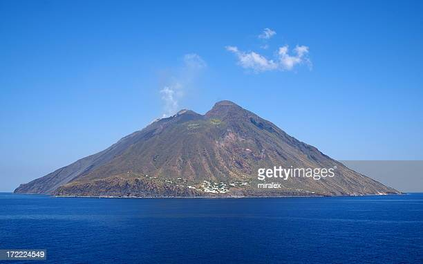 volcanic island stromboli in italy against clear sky - aeolian islands stock pictures, royalty-free photos & images