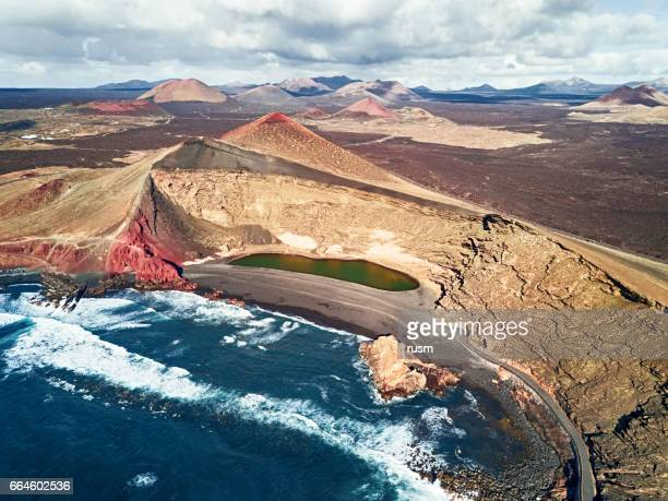 volcanic lake el golfo aerial view, lanzarote, canary islands - timanfaya national park stock pictures, royalty-free photos & images